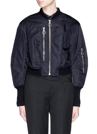 Cropped zip nylon flight jacket