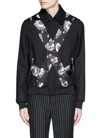 Cross floral jacquard blouson jacket