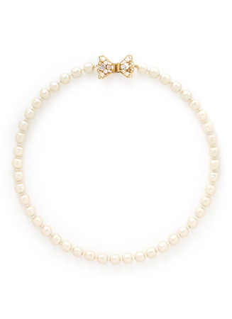 Crystal bow baroque glass pearl necklace