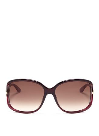 Crystal charm graduated oversized sunglasses