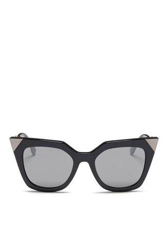 Crystal pavé angular metal temple acetate sunglasses