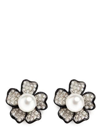 Crystal pavé flower stud earrings
