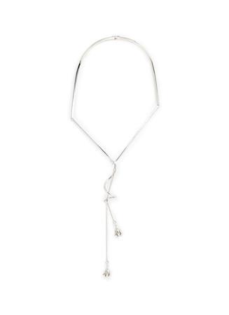 Crystal pavé rose bud drop frame necklace