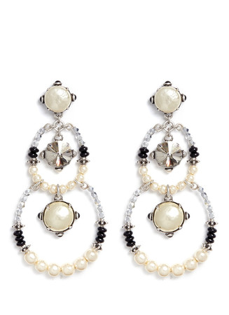 Crystal pearl circle drop earrings