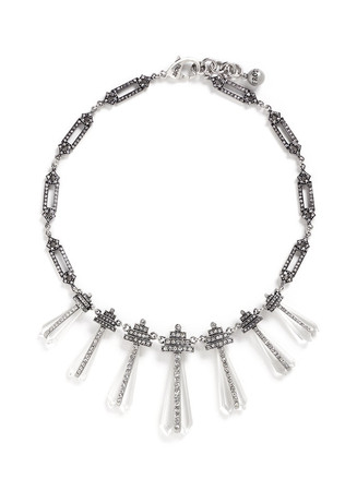 'Crystaline' glass crystal pavé fringe necklace