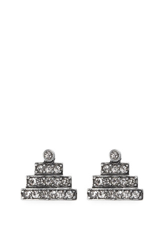 'Crystaline' glass crystal pavé pyramid stud earrings