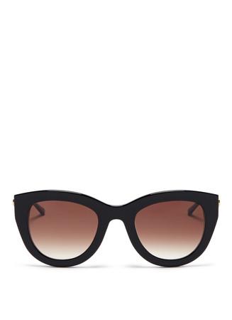 'Cupidity' metal temple pearlescent interior acetate cat eye sunglasses