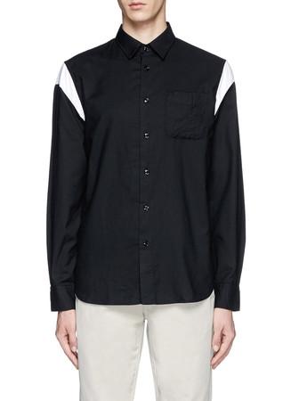 'Curve' contrast shoulder cotton-cupro shirt