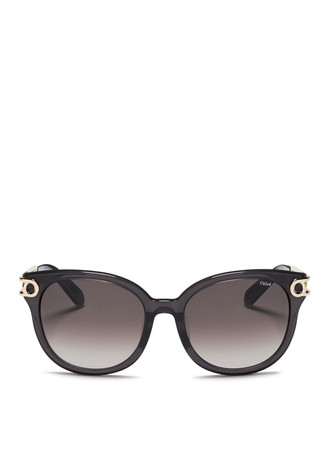 Cutout metal temple acetate sunglasses