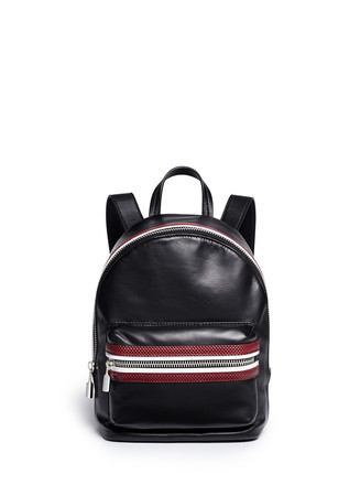 'Cynnie' colour trim leather backpack