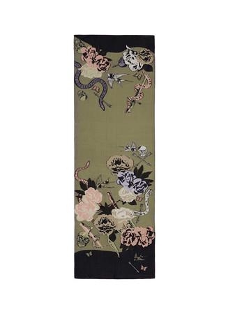 Dagger tattoo skull fil coupé silk blend scarf