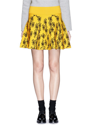 Daisy scribble dense knit flare skirt
