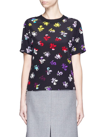 'Dayle' daisy print silk T-shirt