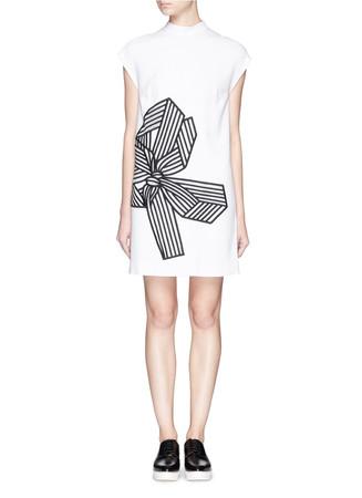 'Deborah' bow embroidery cady dress