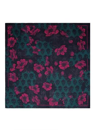 'Decay Floral Skull' silk chiffon scarf