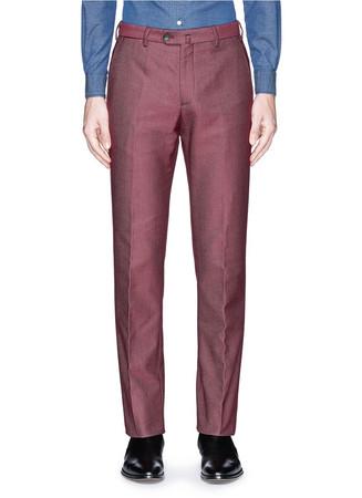 Denim effect cotton-silk pants