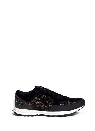 'Des' glitter velvet flock lace sneakers