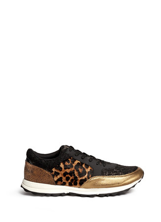'Des' metallic leather leopard calf hair sneakers