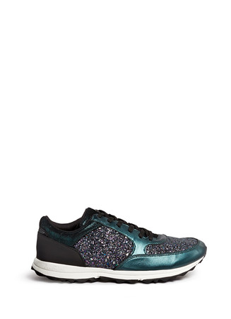 'Des' metallic leather trim glitter sneakers