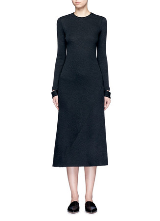 Detached cuff virgin wool blend knit dress