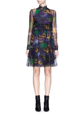 'Devina' bancroft purple print silk organza dress