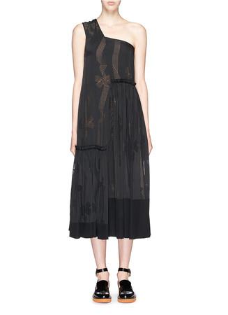Devoré bow print one shoulder silk dress
