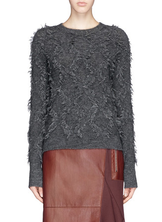 Diamond fringe jacquard Mohair-wool blend sweater