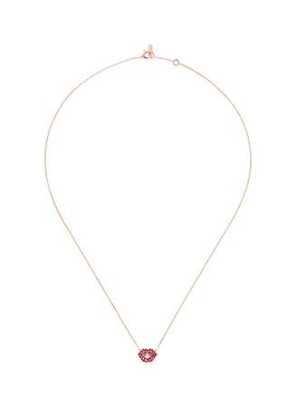 Diamond ruby lips necklace