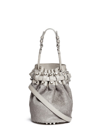 'Diego' small calf hair panel leather bucket bag