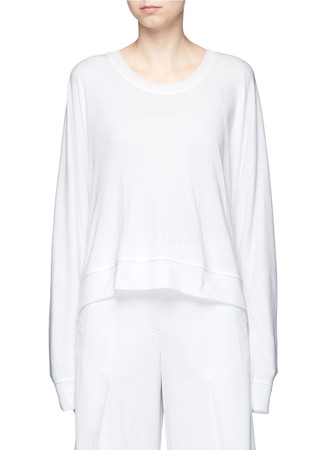Dolman sleeve enzyme wash French terry sweatshirt