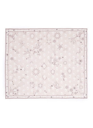 Doodle star skull print silk chiffon scarf