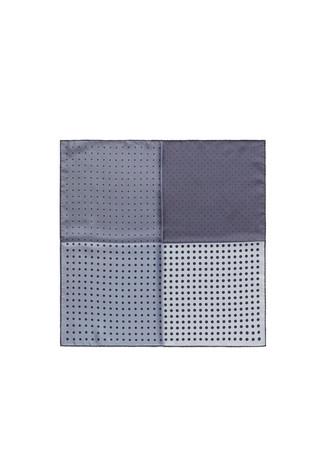 Dot print colourblock silk twill pocket square