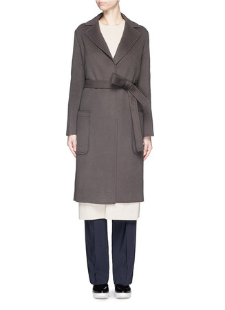 Double faced wool cashmere blend coat