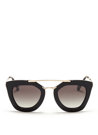 Double metal bridge acetate sunglasses