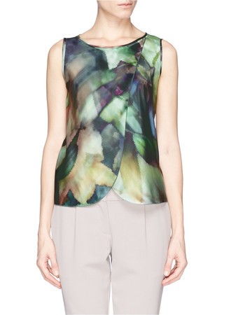 Drape front print silk charmeuse top