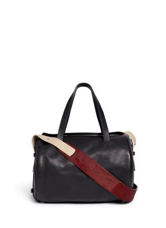 'Drum' pony hair strap leather shoulder bag