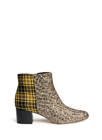 'Edith' plaid tweed glitter ankle boots