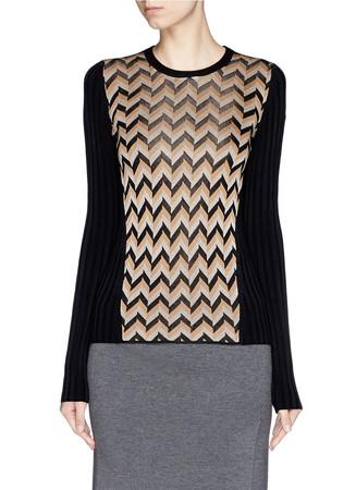 'Elaine' chevron knit front sweater