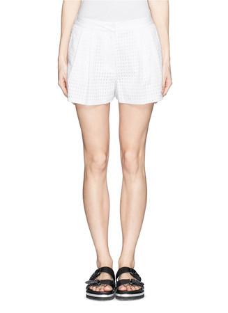 Elastic back waist eyelet lace shorts