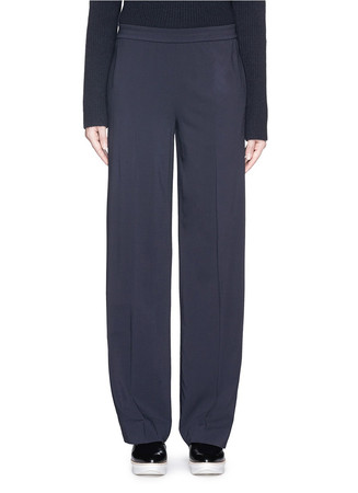 Elastic waist wool blend crepe pants