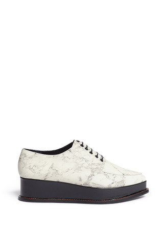 'Eleanora' wedge platform marble print leather Oxfords