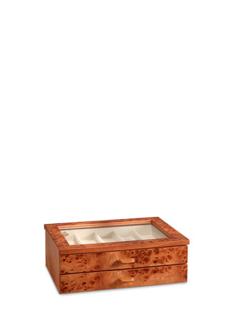Elm briar wood two-drawer watch box