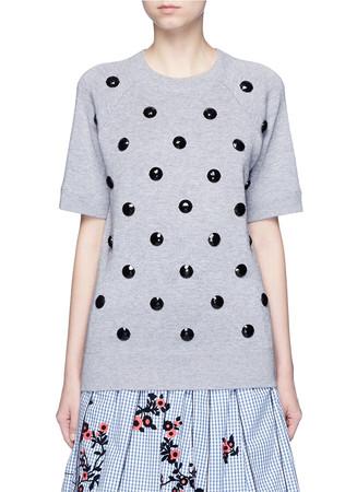 Embellished cotton blend mélange sweatshirt