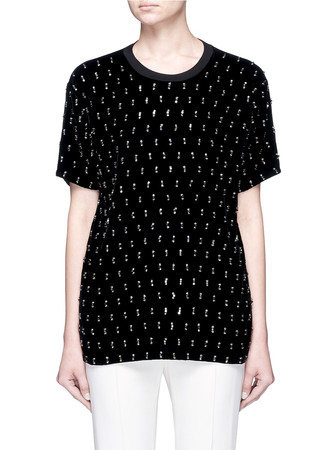 Embellished velvet front slub jersey T-shirt