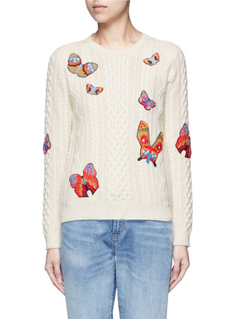 Embroidered butterfly mixed knit sweater