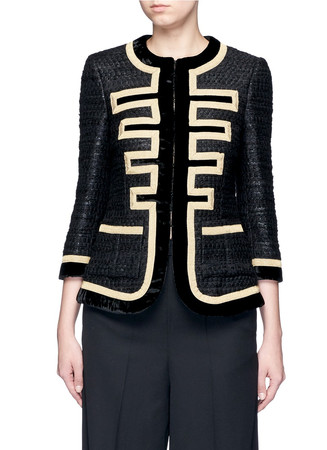 Embroidered tweed velvet trim military jacket
