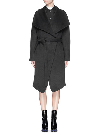 'Emera' belted luxe wool felt wrap coat