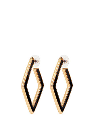 Enamel inlay rhombus frame hoop earrings