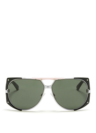 'Enigmatic' chunky acetate temple metal sunglasses