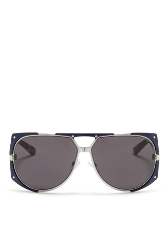 'Enigmatic' panther print acetate temple metal sunglasses